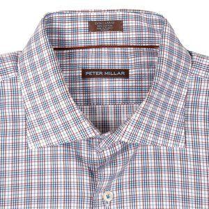 Peter Millar Plaid Button Up Shirt Blue Red